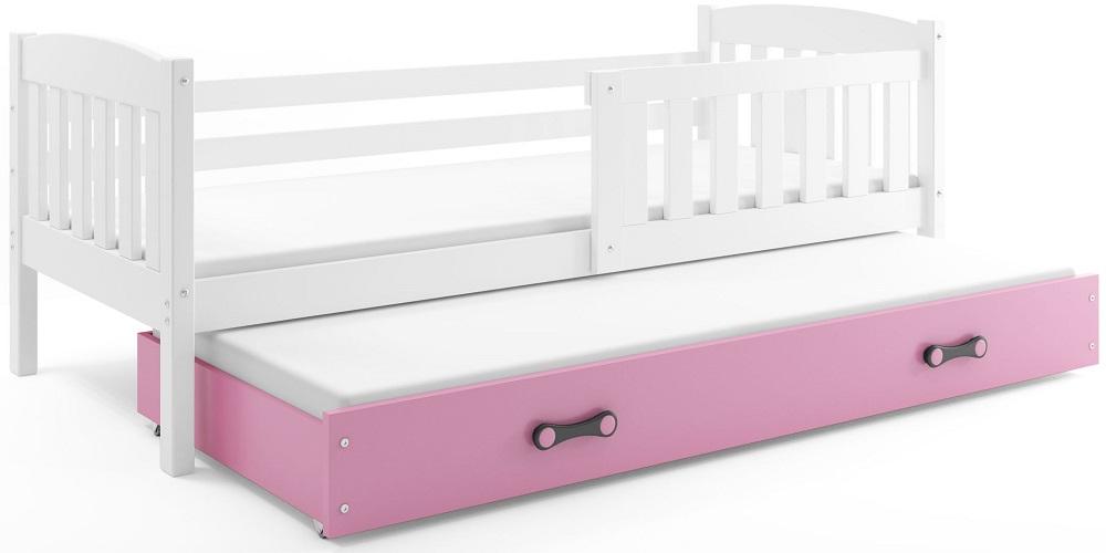 BMS Detská posteľ Kubuš s prístelkou / biela Farba: biela / ružová, Rozmer.: 200 x 90 cm