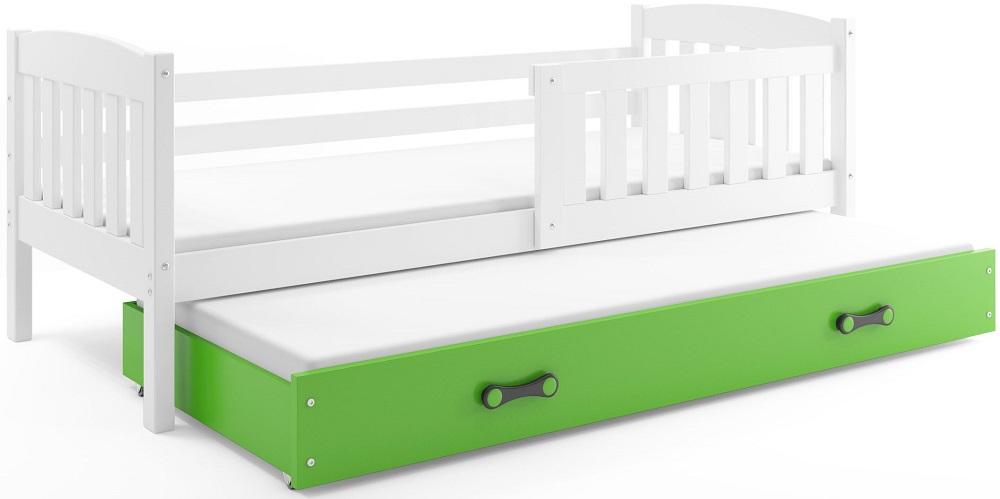 BMS Detská posteľ Kubuš s prístelkou / biela Farba: biela / zelená, Rozmer.: 200 x 90 cm