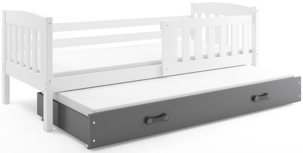 BMS Detská posteľ Kubuš s prístelkou / biela Farba: biela / sivá, Rozmer.: 200 x 90 cm
