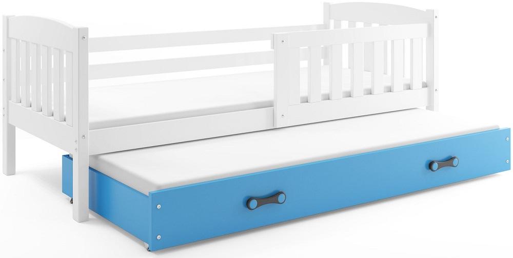 BMS Detská posteľ Kubuš s prístelkou / biela Farba: biela / modrá, Rozmer.: 200 x 90 cm