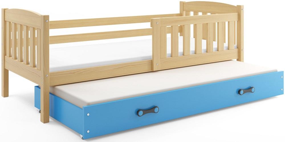 BMS Detská posteľ Kubuš 2 s prístelkou / borovica Farba: Borovica / modrá, Rozmer.: 200 x 90 cm