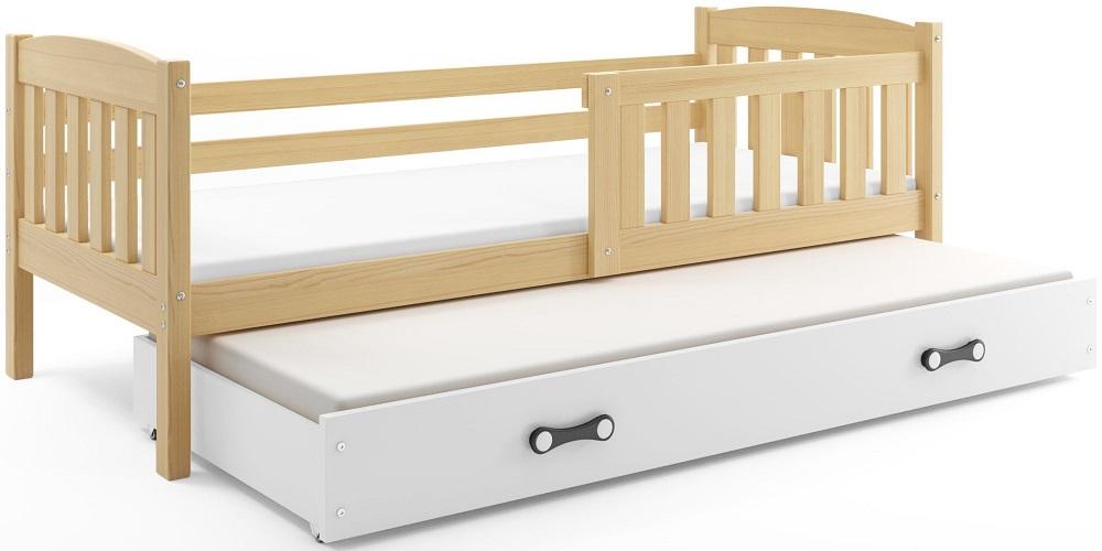 BMS Detská posteľ Kubuš 2 s prístelkou / borovica Farba: Borovica / biela, Rozmer.: 200 x 90 cm