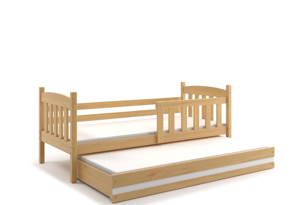 BMS Detská posteľ Kubuš 2 s prístelkou / borovica Farba: Borovica / biela, Rozmer.: 190 x 80 cm