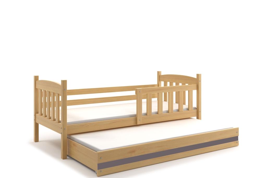 BMS Detská posteľ Kubuš 2 s prístelkou / borovica Farba: Borovica / sivá, Rozmer.: 190 x 80 cm