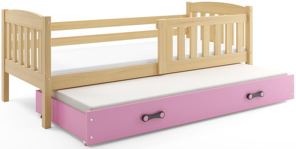 BMS Detská posteľ Kubuš 2 s prístelkou / borovica Farba: Borovica / ružová, Rozmer.: 200 x 90 cm