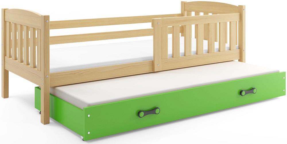 BMS Detská posteľ Kubuš 2 s prístelkou / borovica Farba: Borovica / zelená, Rozmer.: 200 x 90 cm