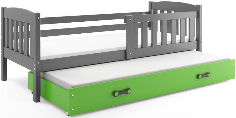 BMS Detská posteľ Kubuš s prístelkou / SIVÁ Farba: Sivá / zelená, Rozmer.: 200 x 90 cm