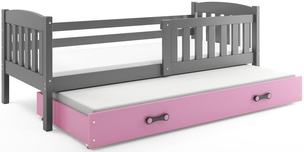 BMS Detská posteľ Kubuš s prístelkou / SIVÁ Farba: Sivá / ružová, Rozmer.: 200 x 90 cm