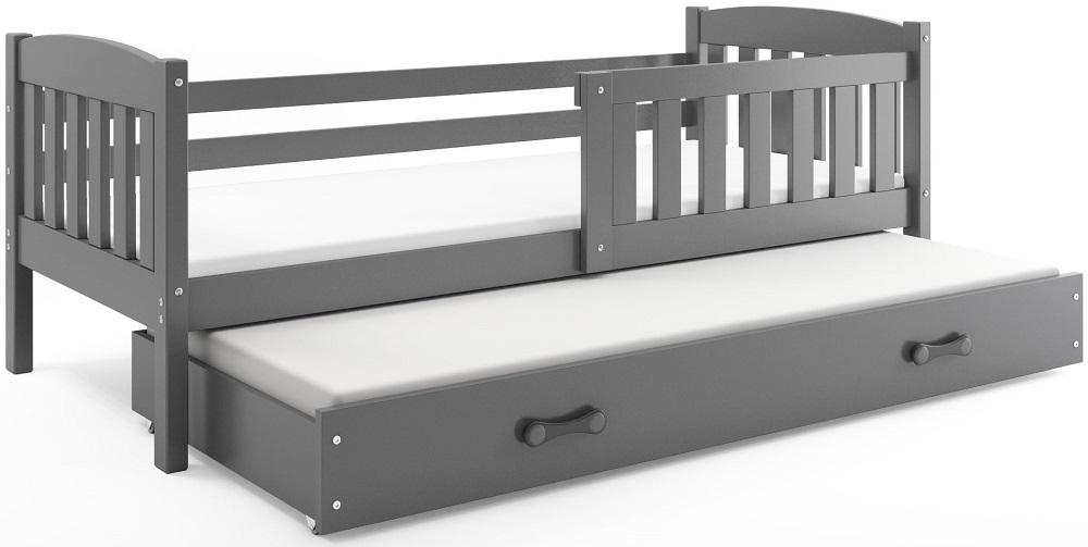 BMS Detská posteľ Kubuš s prístelkou / SIVÁ Farba: Sivá / sivá, Rozmer.: 200 x 90 cm