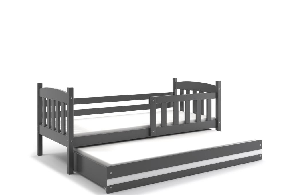 BMS Detská posteľ Kubuš s prístelkou / SIVÁ Farba: Sivá / biela, Rozmer.: 190 x 80 cm
