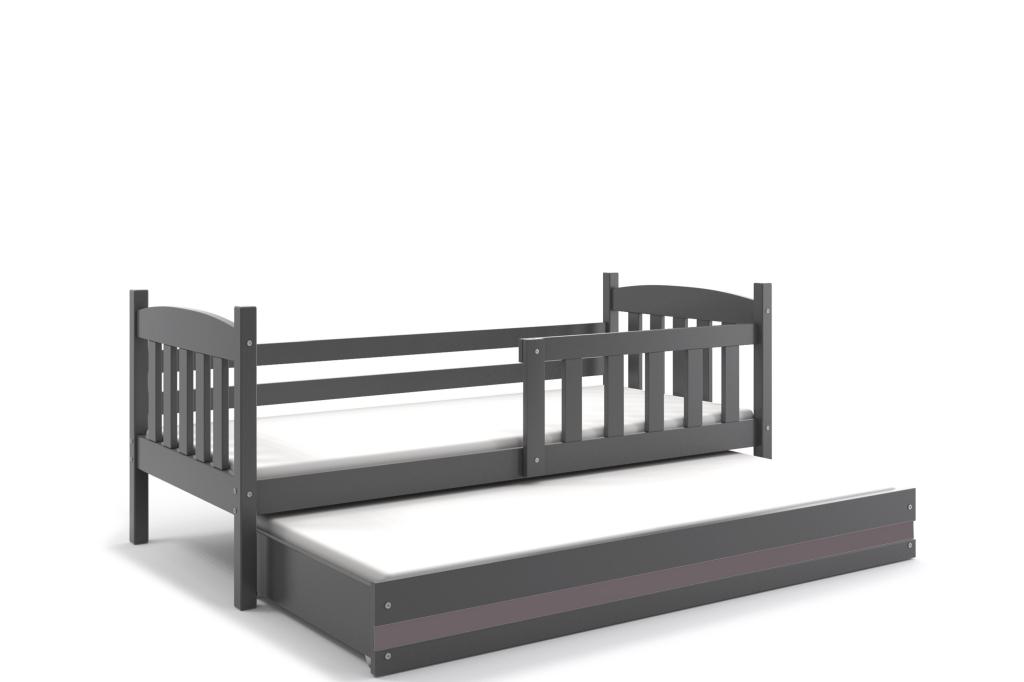 BMS Detská posteľ Kubuš s prístelkou / SIVÁ Farba: Sivá / sivá, Rozmer.: 190 x 80 cm