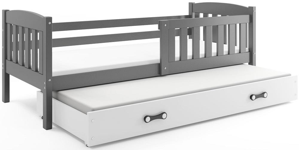 BMS Detská posteľ Kubuš s prístelkou / SIVÁ Farba: Sivá / biela, Rozmer.: 200 x 90 cm