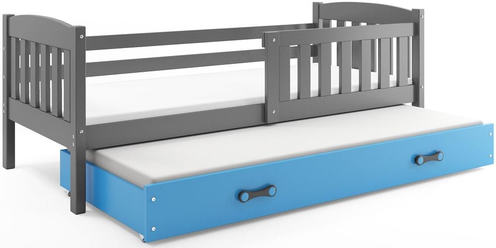 BMS Detská posteľ Kubuš s prístelkou / SIVÁ Farba: Sivá / Modrá, Rozmer.: 200 x 90 cm