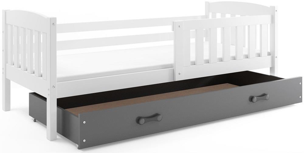BMS Detská posteľ Kubuš s úložným priestorom / biela Farba: biela / sivá, Rozmer.: 200 x 90 cm