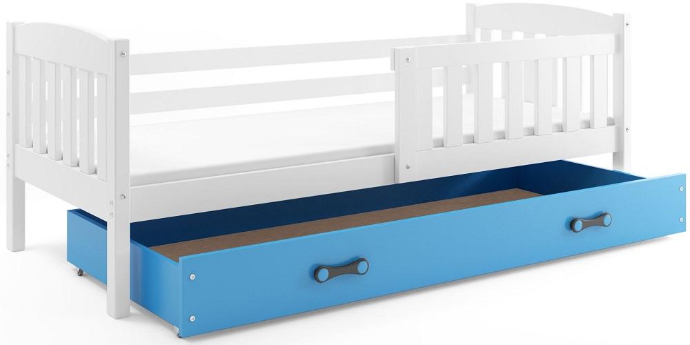 BMS Detská posteľ Kubuš 1 s úložným priestorom / biela Farba: biela / modrá, Rozmer.: 200 x 90 cm