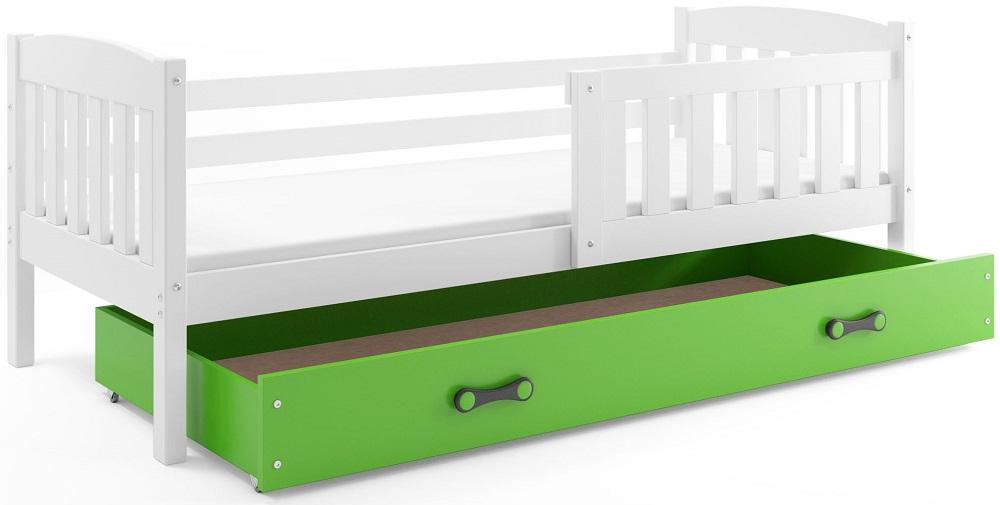 BMS Detská posteľ Kubuš 1 s úložným priestorom / biela Farba: biela / zelená, Rozmer.: 200 x 90 cm