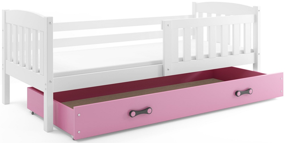 BMS Detská posteľ Kubuš 1 s úložným priestorom / biela Farba: biela / ružová, Rozmer.: 200 x 90 cm