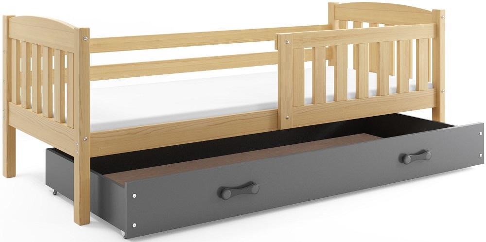 BMS Detská posteľ Kubuš 1 s úložným priestorom / borovica Farba: Borovica / sivá, 200x90
