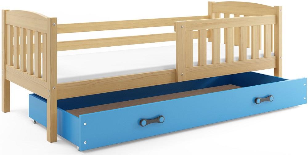 BMS Detská posteľ Kubuš 1 s úložným priestorom / borovica Farba: Borovica / modrá, Rozmer.: 200 x 90 cm