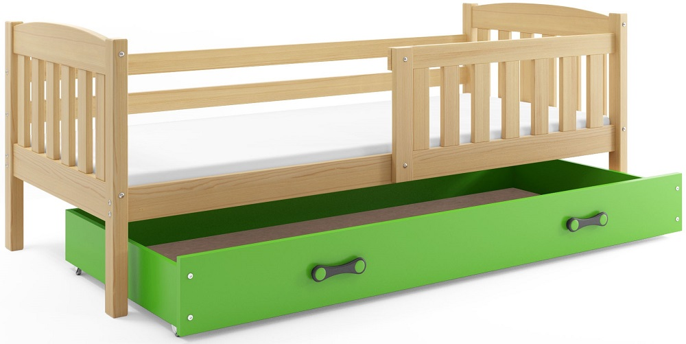 BMS Detská posteľ Kubuš 1 s úložným priestorom / borovica Farba: Borovica / zelená, Rozmer.: 200 x 90 cm