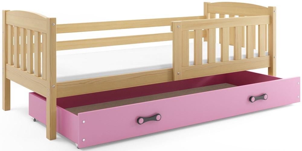 BMS Detská posteľ Kubuš 1 s úložným priestorom / borovica Farba: Borovica / ružová, Rozmer.: 200 x 90 cm