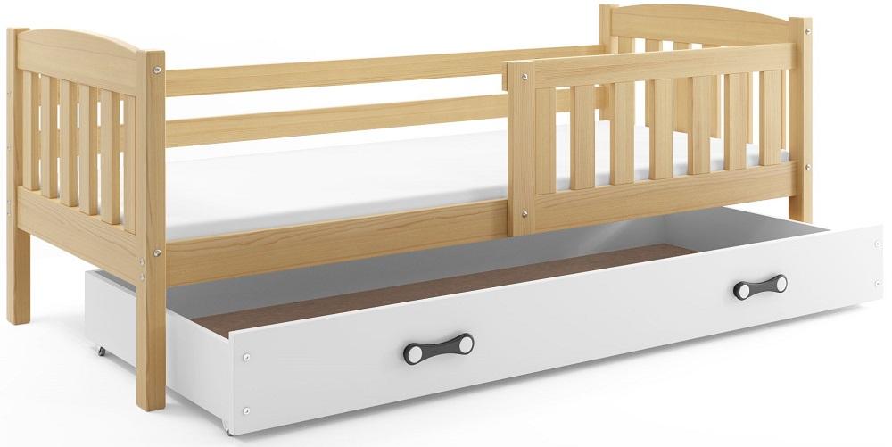 BMS Detská posteľ Kubuš 1 s úložným priestorom / borovica Farba: Borovica / biela, Rozmer.: 200 x 90 cm