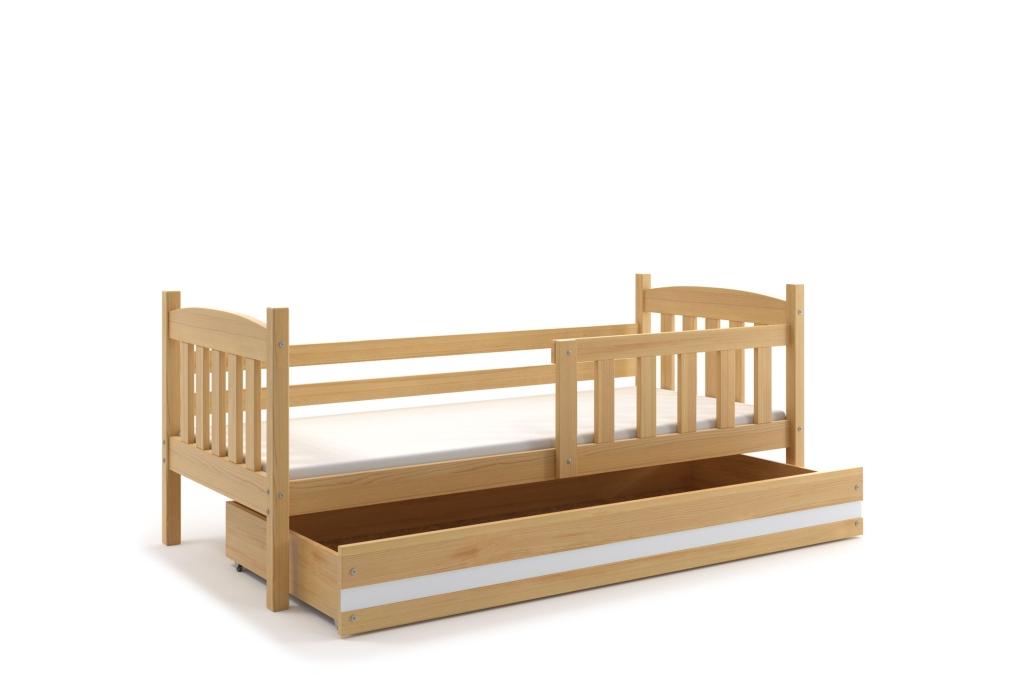 BMS Detská posteľ Kubuš 1 s úložným priestorom / borovica Farba: Borovica / biela, Rozmer.: 190 x 80 cm
