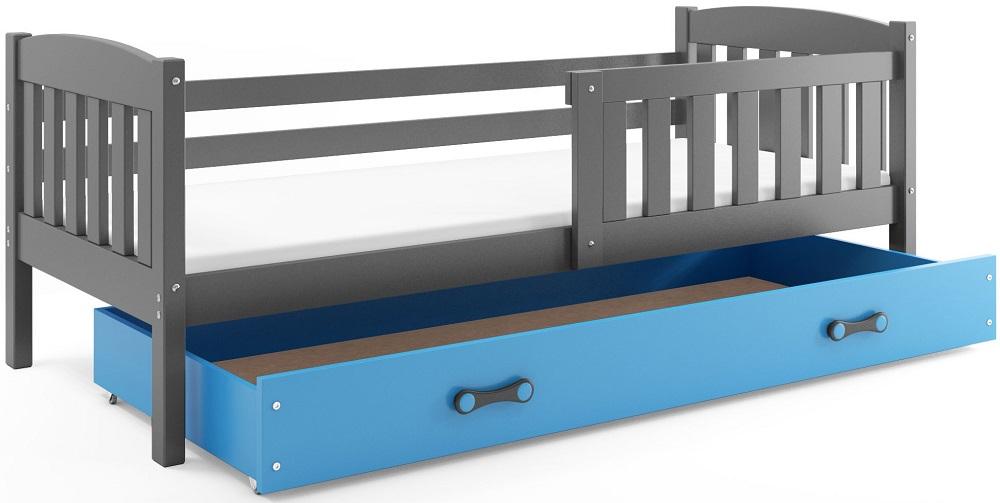 BMS Detská posteľ Kubuš s úložným priestorom / SIVÁ Farba: Sivá / Modrá, Rozmer.: 160 x 80 cm