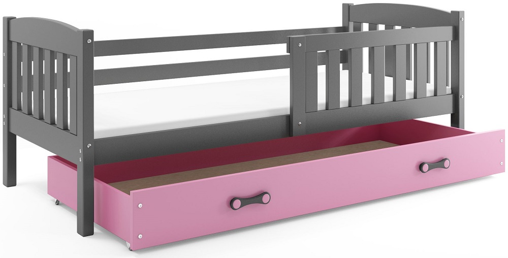 BMS Detská posteľ Kubuš s úložným priestorom / SIVÁ Farba: Sivá / ružová, Rozmer.: 160 x 80 cm