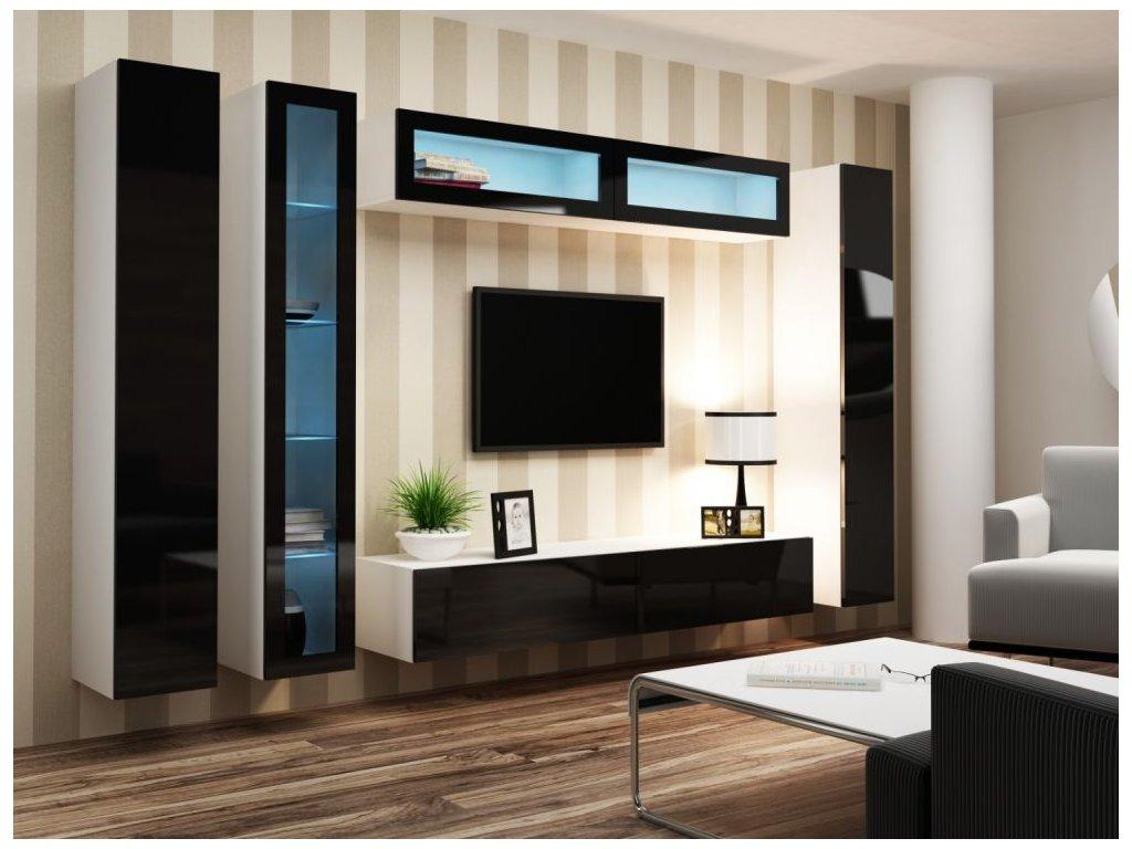 Artcam Obývacia stena Vigo VI Farba: biela/čierny lesk