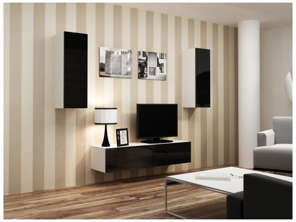 Artcam Obývacia stena Vigo VII Farba: biela/čierny lesk