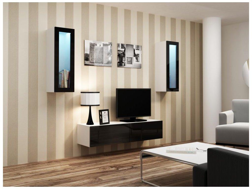 Artcam Obývacia stena Vigo VIII Farba: biela/čierny lesk