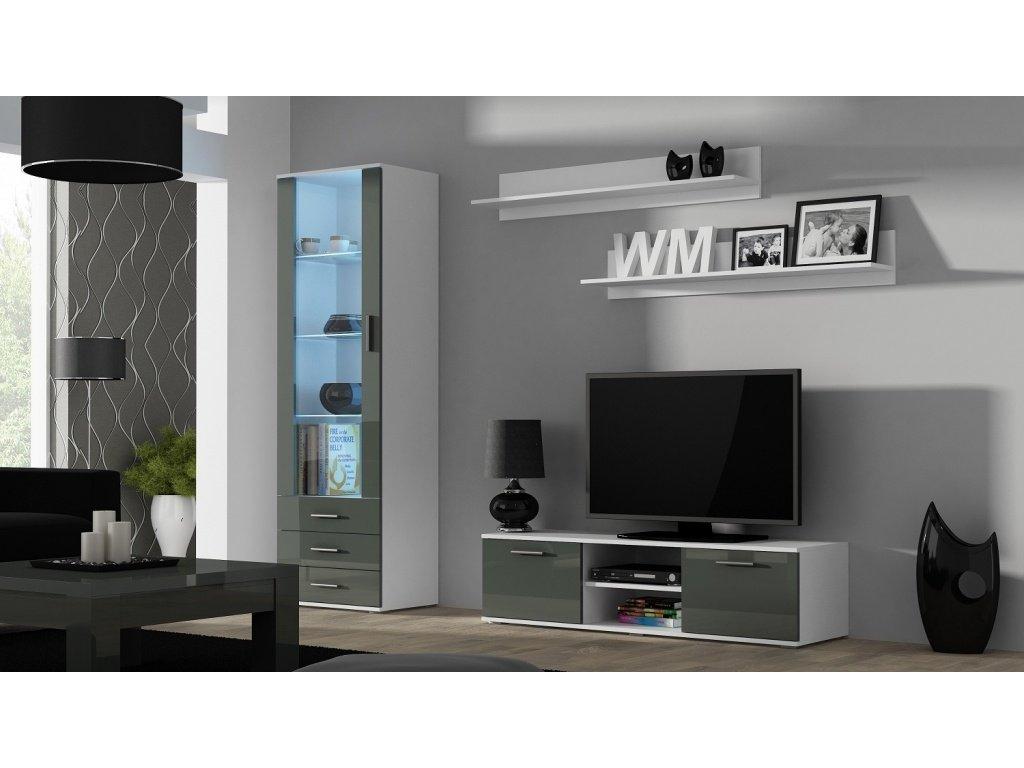 Artcam Obývacia stena Soho 7 Farba: Biela/sivý lesk