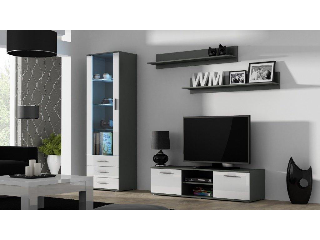 Artcam Obývacia stena Soho 7 Farba: Sivá/biely lesk