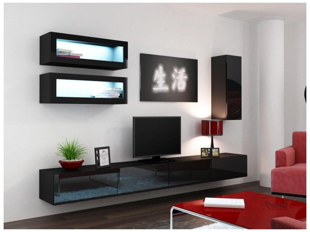 Artcam Obývacia stena Vigo 11 Farba: Čierna/čierny lesk