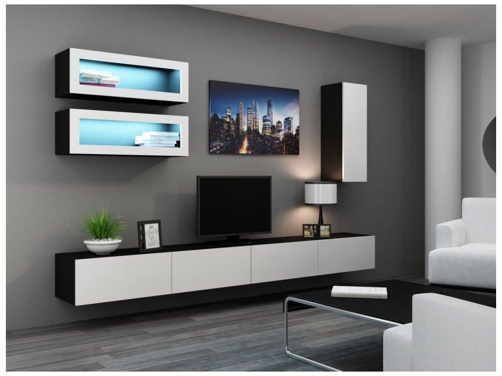 Artcam Obývacia stena Vigo 11 Farba: čierna/biely lesk