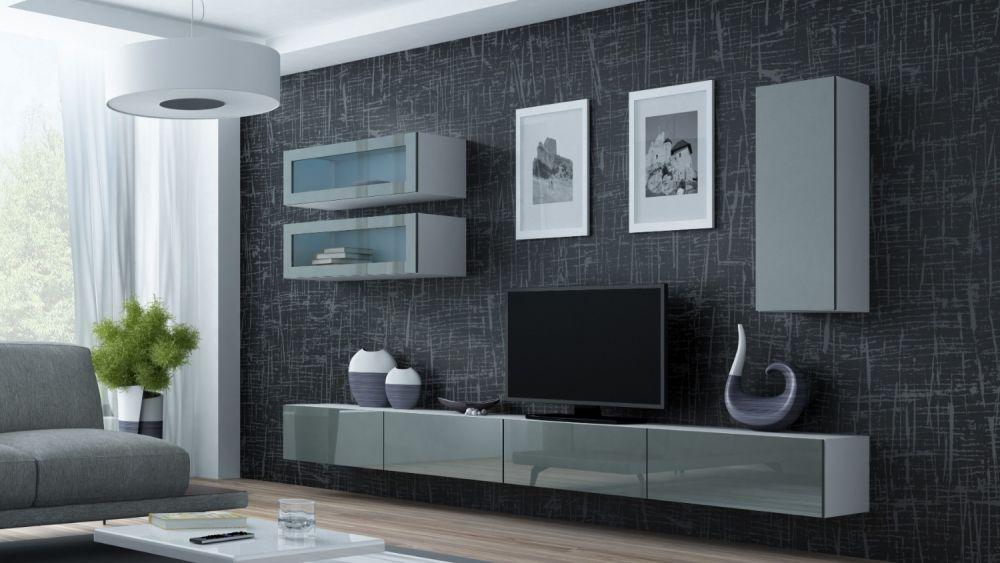 Artcam Obývacia stena Vigo 11 biela/sivý lesk