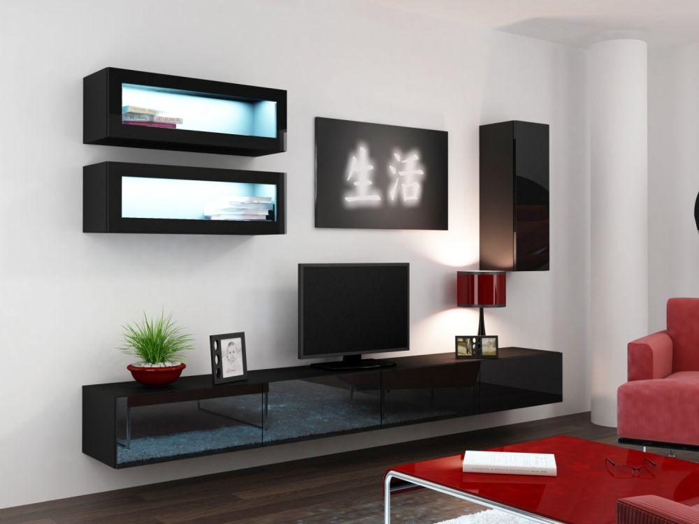 Artcam Obývacia stena Vigo 11 čierna/čierny lesk