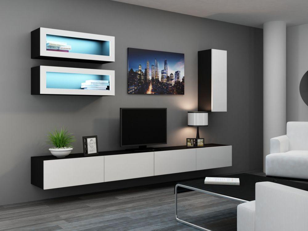 Artcam Obývacia stena Vigo 11 čierna/biely lesk