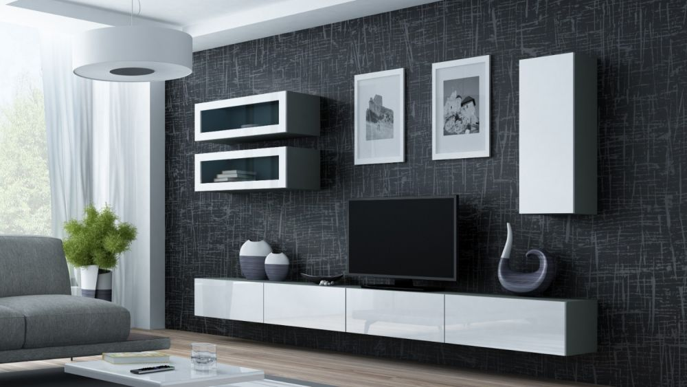 Artcam Obývacia stena Vigo 11 sivá/biely lesk