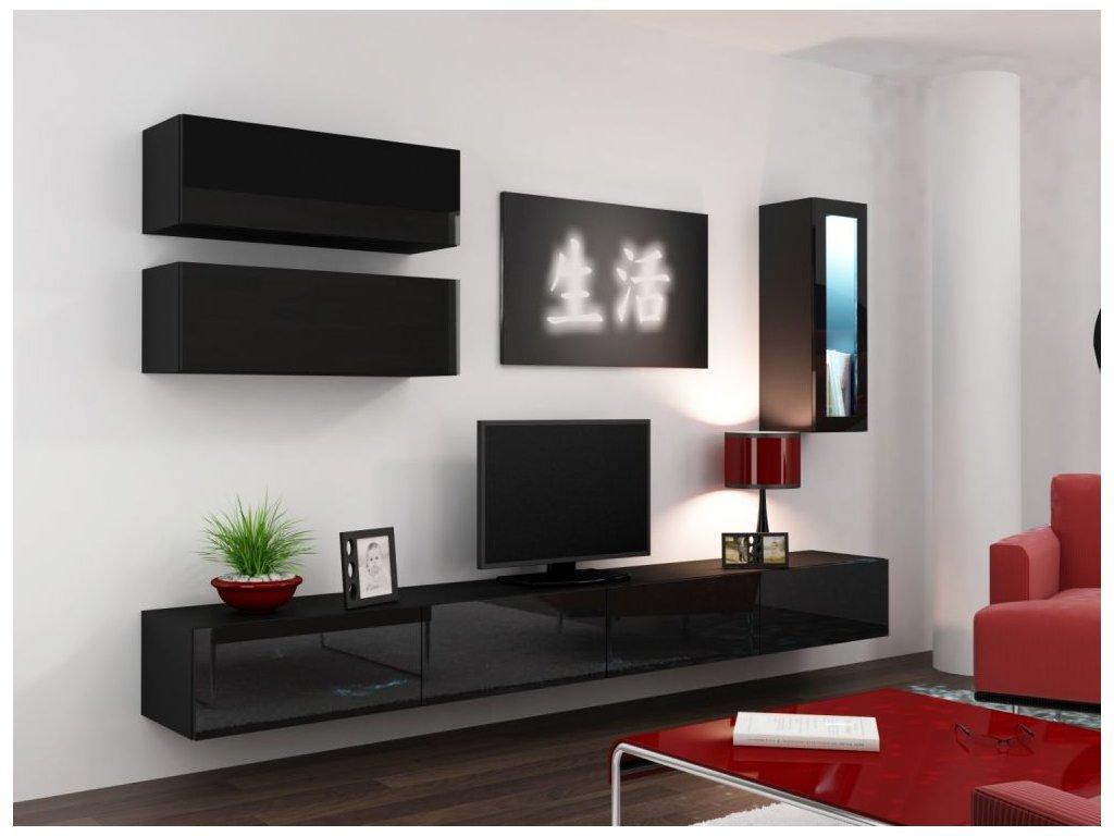 Artcam Obývacia stena Vigo 12 Farba: Čierna/čierny lesk