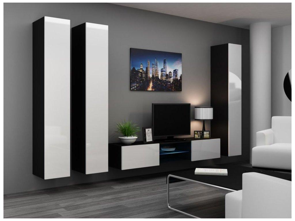 Artcam Obývacia stena Vigo 18 Farba: čierna/biely lesk