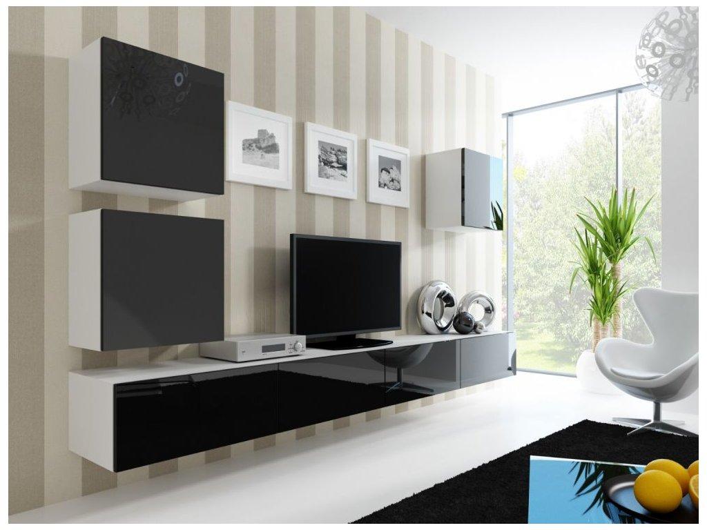 Artcam Obývacia stena Vigo 22 Farba: biela/čierny lesk