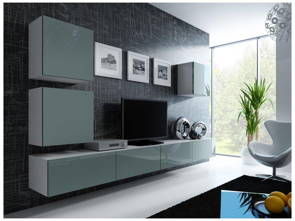 Artcam Obývacia stena Vigo 22 Farba: Biela/sivý lesk