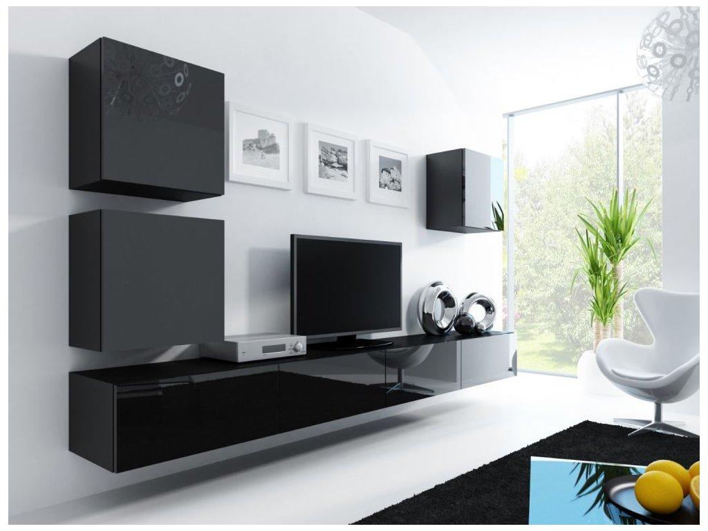 Artcam Obývacia stena Vigo 22 Farba: Čierna/čierny lesk