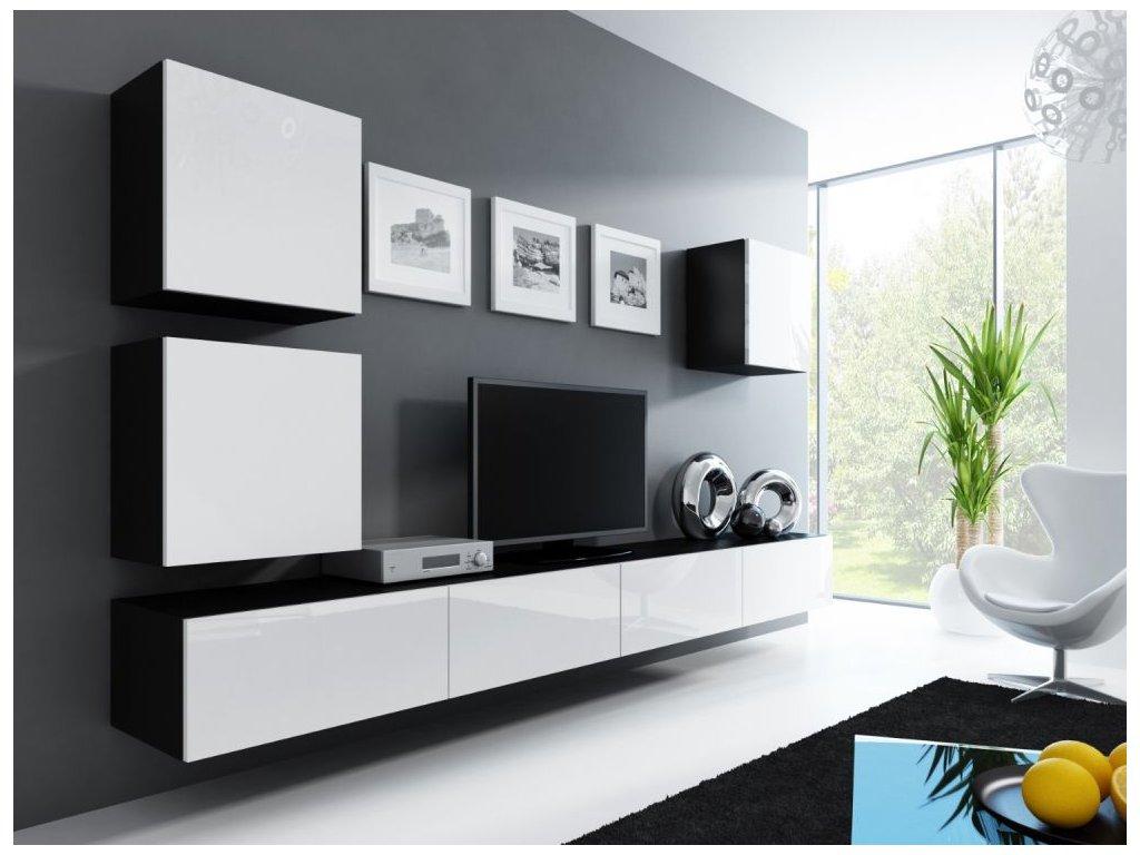 Artcam Obývacia stena Vigo 22 Farba: čierna/biely lesk
