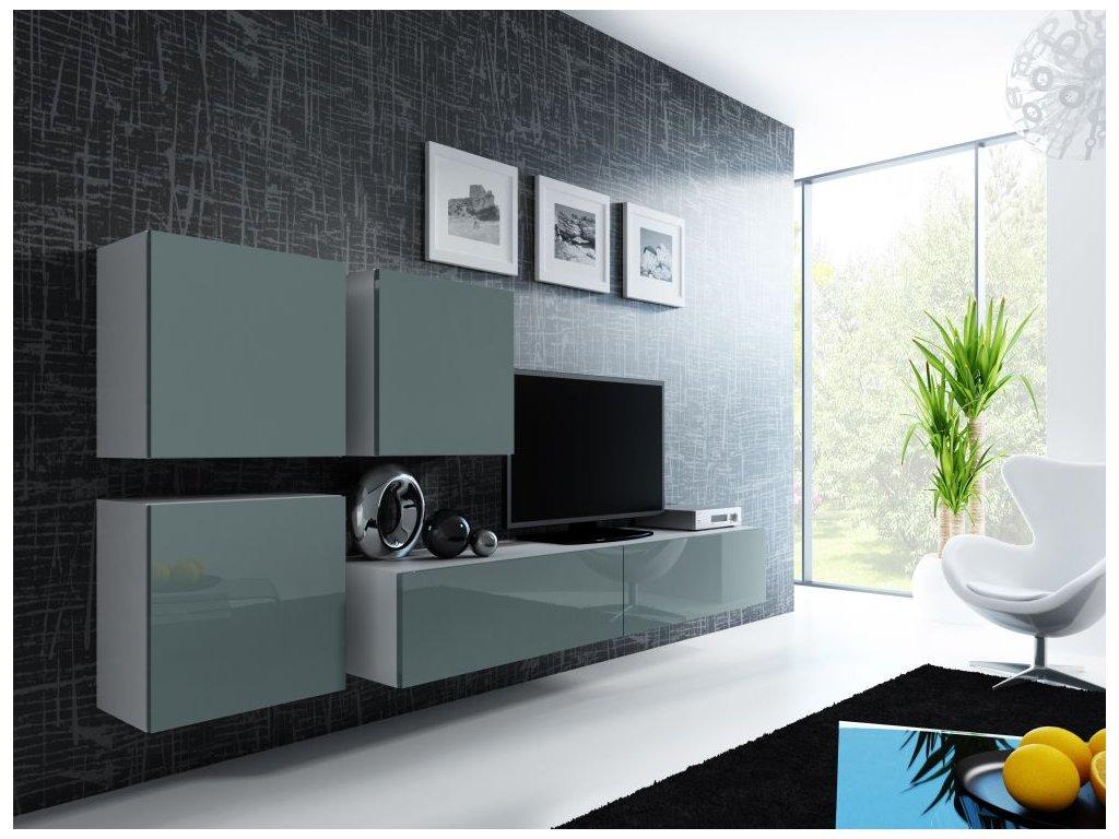 Artcam Obývacia stena Vigo 23 Farba: Biela/sivý lesk