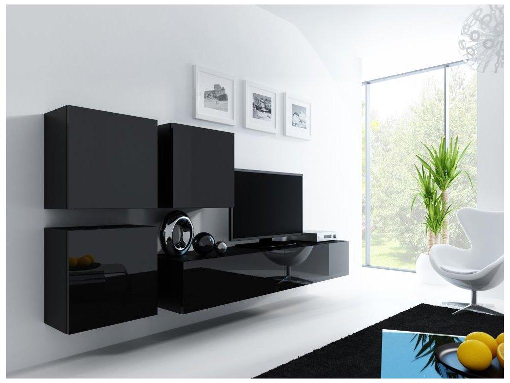 Artcam Obývacia stena Vigo 23 Farba: Čierna/čierny lesk