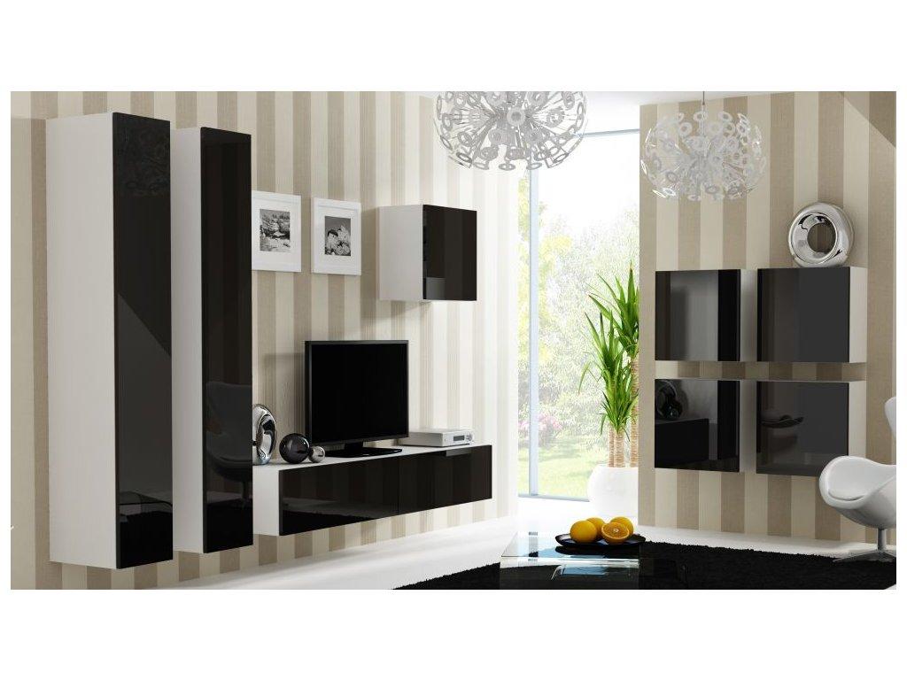 Artcam Obývacia stena Vigo 24 Farba: biela/čierny lesk