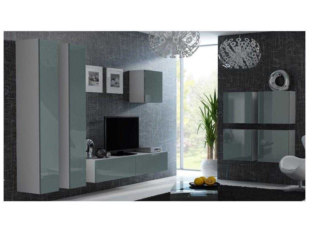Artcam Obývacia stena Vigo 24 Farba: Biela/sivý lesk